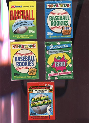 5 1989 1990 Topps Baseball Highlights Woolworth Complete ...