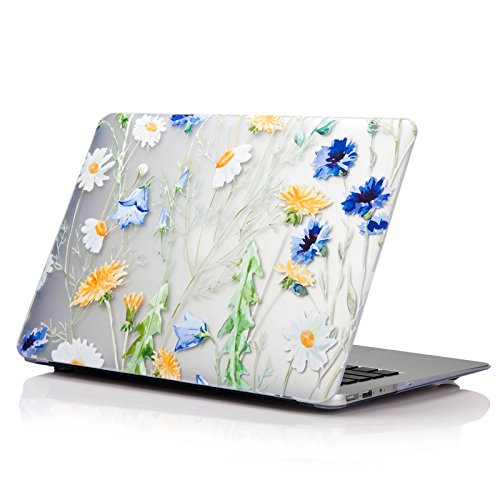 - YMIX Macbook Air 13 Inch Case,Translucent Matte Hard Shell Rubber Coated Bottom Cover Ultra Slim Frosted Protective Case for Apple MacBook Air 13.3 Inch (A1466 & A1369)(A_Daisy)