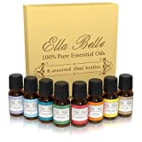 Ella Belle Top 8 Essential Oils - 100% Pure Therapeutic Grade - Sampler Gift Set Kit Includes Tea Tree, Eucalyptus, Lavender, Grapefruit, Rosemary, Lemongrass, Orange & Peppermint.