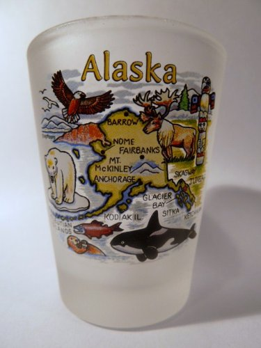 Alaska Map Frosted Shot Glass - Alaska Glass