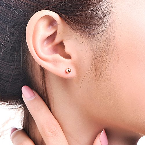 54992631f Exquisite 14K Gold Filled Ball Bead Stud Earrings for Men, Women, Boys and  Girls