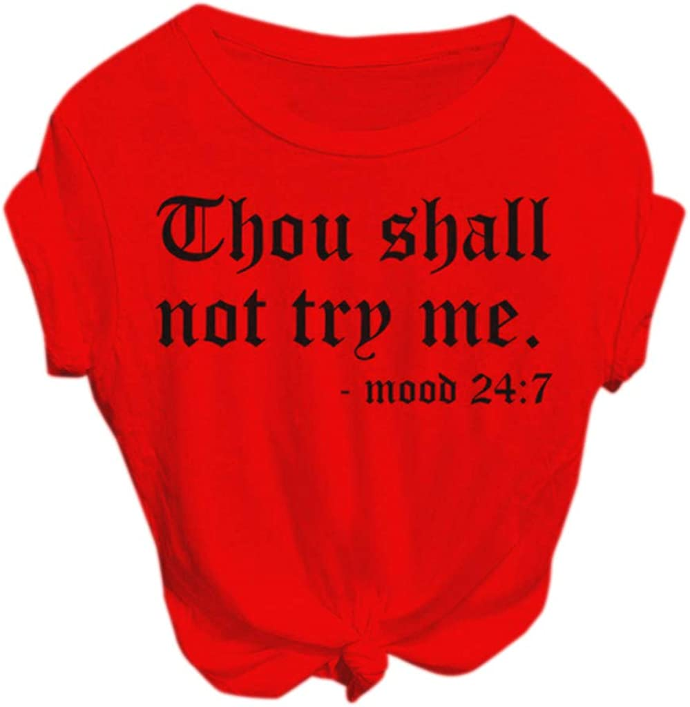 Women Thou Shall NOT Try ME Letter Print Short Sleeve Shirt Fashion Graphic Tee Casual T-Shirt Tops Blouse Activewear