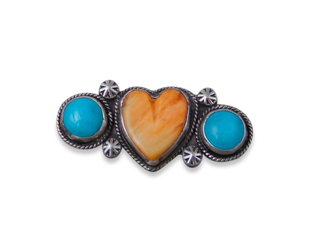 Navajo Vintage Silver Turquoise Spiny Oyster Heart Pin Brooch