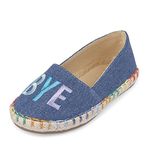 Large Product Image of The Children's Place Girls' TG Hi Bye Espadr Slipper, Denim, TDDLR 6 Medium US Infant
