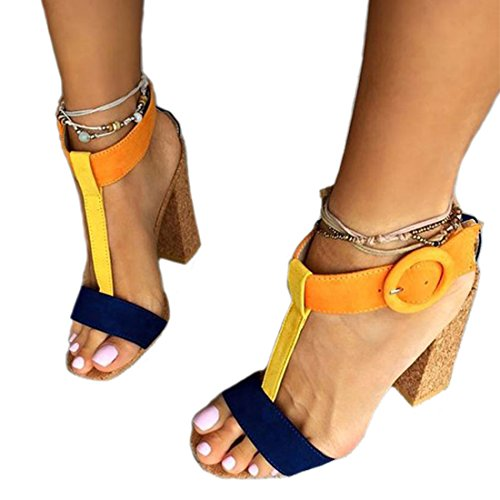 JF shoes Women's Summer T-Shaped Wood-Tone Buckle Block Suede Open Toe Heeled Sandals(Yellow,B10) (US 7.5, - Classic Sandals Toe Open