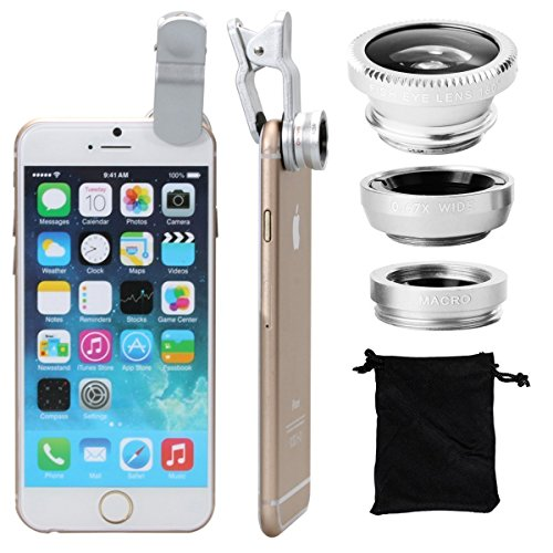 Price comparison product image Silver Lens Kit (3 in 1) 180 Degree Universal Clips on Lenses Kit (SILVER) Fish Eye Lens + Wide Angle + Micro Lens Kit,  Universal Clip Mini Lens Kit Barlow For Huawei Ascend Mate 7 Ascend G7 P7