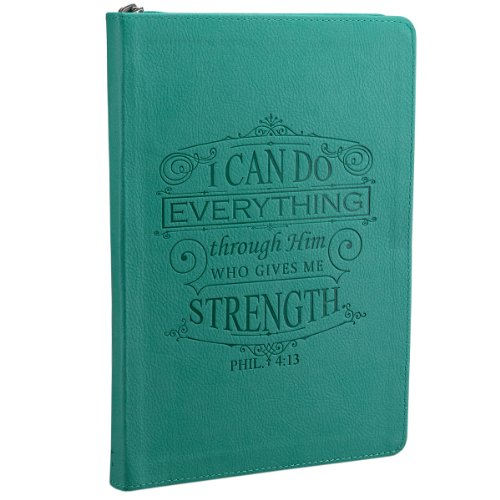 I Can Do Everything Through Him Zippered Classic LuxLeather Journal in - Journal I Can