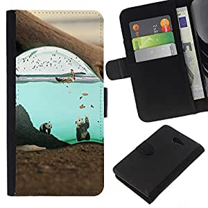 NEECELL GIFT forCITY // Billetera de cuero Caso Cubierta de protección Carcasa / Leather Wallet Case for Sony Xperia M2 // Lindo surrealista Submarino Panda