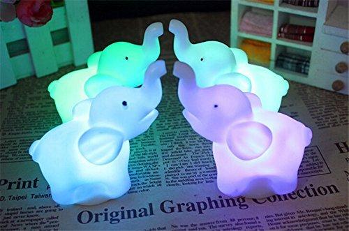 Buyusee 2Pcs/Pack Elephant Shape Color Changing LED Night Light Lamp Venue Party Decor