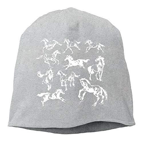 TLPM9LKMBM Horses Pattern Beanie Skull Cap for Women and Men - Winter Warm Knit ()