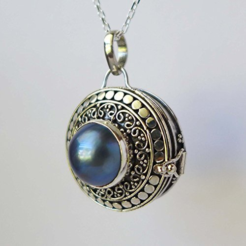 Mabe Pearl Necklace Pendant - Blue Mabe Pearl Locket Silver Keep Sake Pendant Necklace PL15