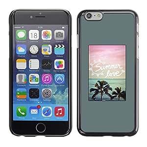 Cartel de la playa Palmeras Summer Love - Metal de aluminio y de plástico duro Caja del teléfono - Negro - Apple (4.7 inches!!!) iPhone 6 / 6S