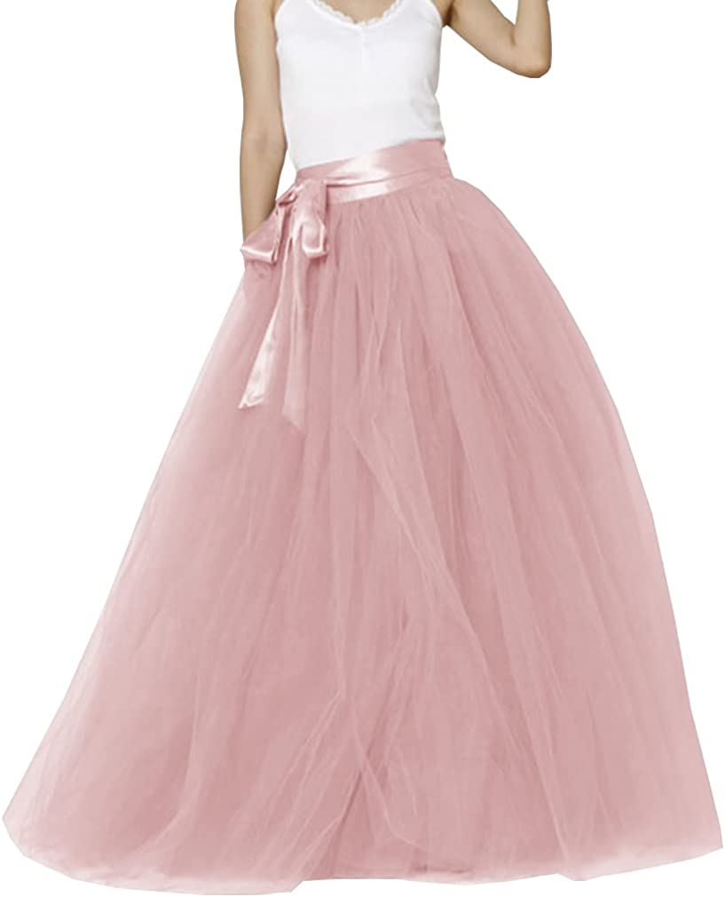 Lisong Women Floor Length Bowknot 5-Layered Tulle Party Evening Tutu Skirt