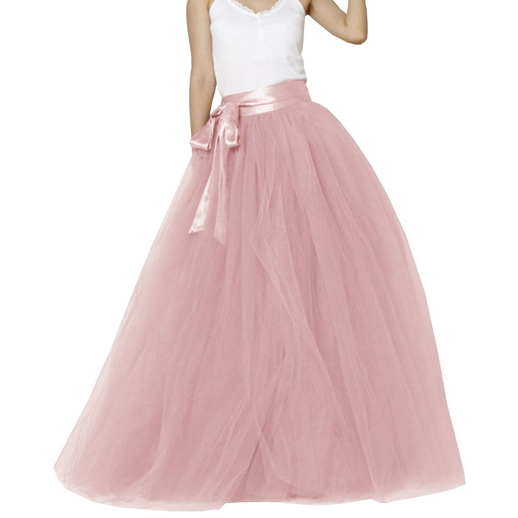 Lisong Women Floor Length Bowknot Tulle Party Evening Skirt 2 US Cameo Brown