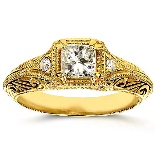 - Diamond Antique Filigree Engagement Ring 5/8 CTW in 14k Yellow Gold, Size 5.5
