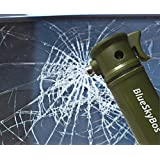 Army Green 6-in-1 Emergency Tool Auto Car Safety Escape Hammer Seat Belt Cutter Flashing Beacon Alarm Siren LED Flashlight by BlueSkyBos