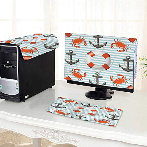 (Auraisehome Computer dustproof Three-Piece Nautical Decor Life Rings Anchor and Ropes Crabs Coastal for LED LCD Screens Flat Panel HD Display /17