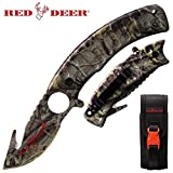 Red Deer 9 Inch Big Game Hunter Skinning Folding Knife with Finger Grip Blade – Green Camo with Sheath For Sale