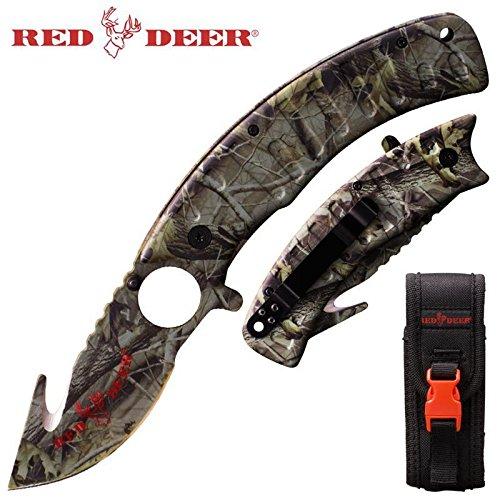 Game Hunter Skinning Folding Knife with Finger Grip Blade - Green Camo with Sheath (Deer Hunter Knife)