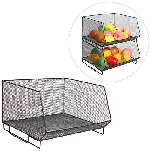Stacking Storage Basket (Deluxe Stackable Black Metal Wire Mesh Fruit & Produce Basket Rack / Kitchen Stacking Storage)