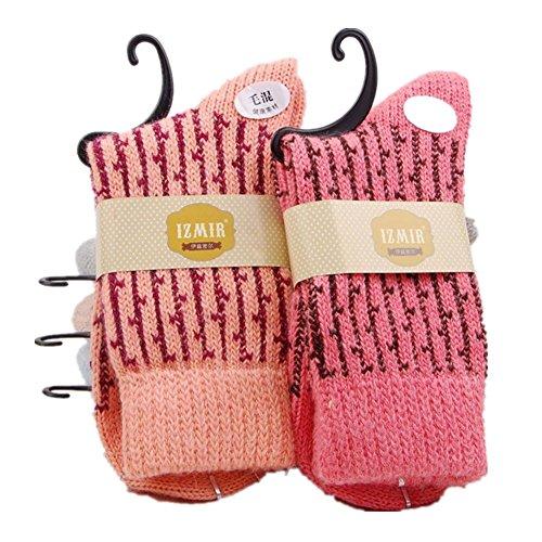 Jiye Womens Merino Ragg Wool Crew Socks 5-Pack,Color Stripe