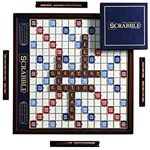 Admirable Scrabble Deluxe Edition With Rotating Wooden Game Board Uwap Interior Chair Design Uwaporg