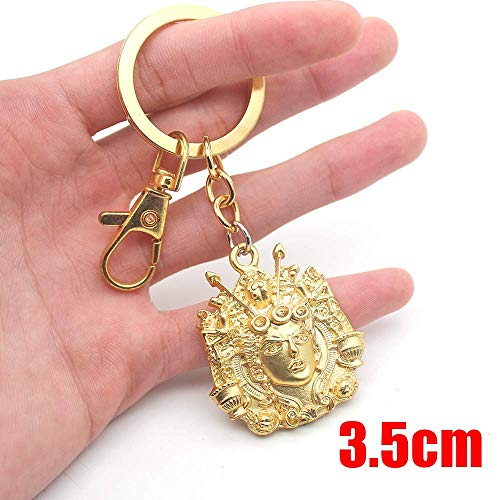 Momoso_Store Anime Jojo Keychain Jojo's Bizarre Adventure Golden Wind Giorno Giovanna Gold Metal Pendant Keyring Ornament Cosplay Collection ()