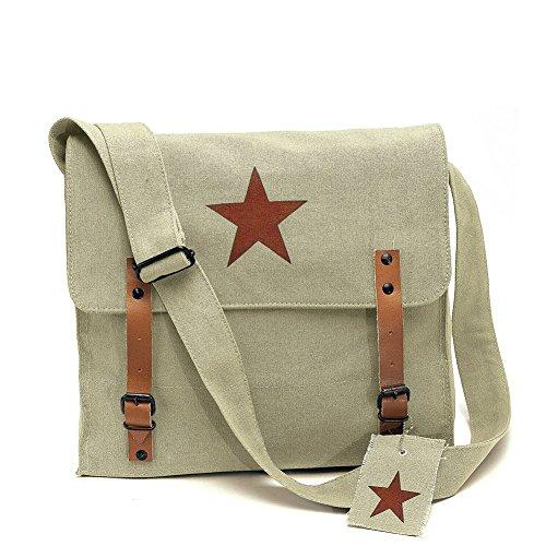 (Rothco Khaki Vintage Army Medic Shoulder Messenger Bag w/Brown Star Emblem)