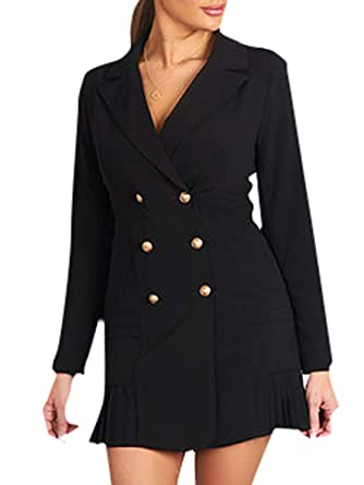 a03f1d012047 Elva Nell Women's Elegant Double Breasted Blazer Dress Slim Fit Ruffle  Office Dress Mini Black