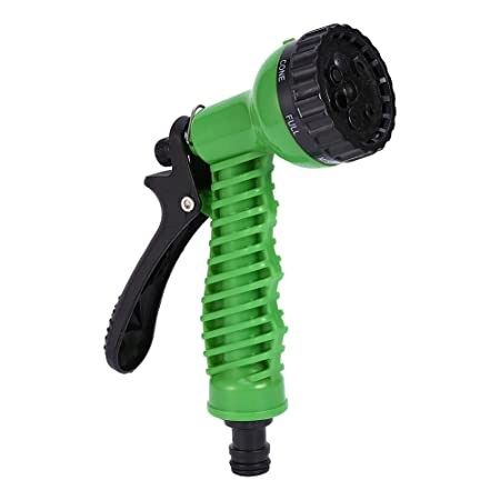 HOKIPO Plastic 7 Pattern High Pressure Garden Hose Nozzle Water Spray Gun (Green)