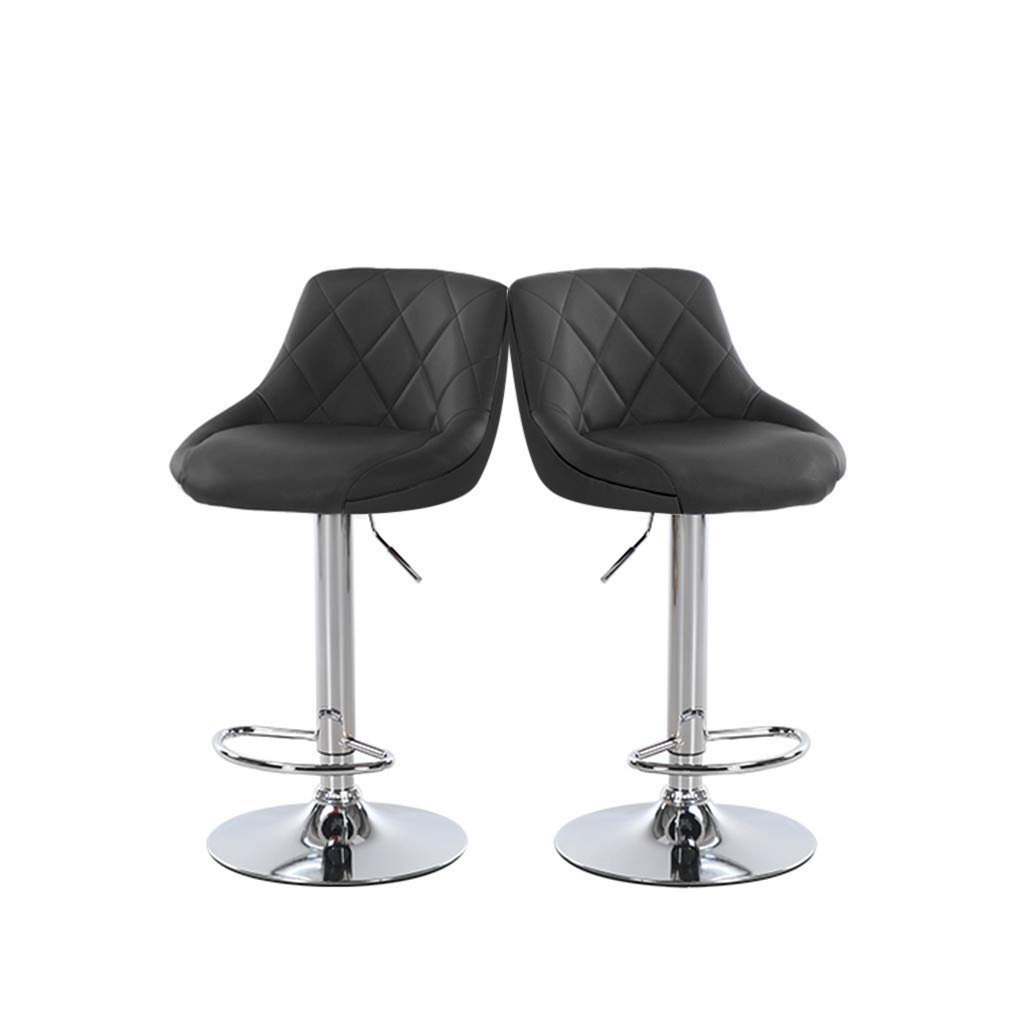 JinJin Modern Square PU Leather Adjustable Bar Stools with Back,Set of 2,Counter Height Swivel Stool by Leopard,high swivel stool with back (B4) by Jinjin (Image #1)