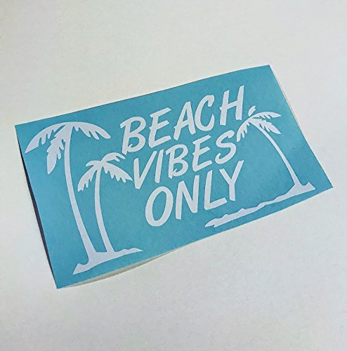 Beach Vibes Only | Beach Life and Palm Trees White Vinyl Decal
