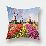Custom Satin Pillowcase Protector Landscape With Tulips Traditional Dutch Windmills And Houses Near The Canal In Zaanse Schans 490194529 Pillow Case Covers Decorative