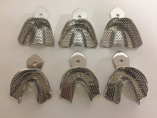 Chase Dental Supply CD-9449 Perforated Stainless Steel Impression Trays Set of 6 (Small, Medium, Large) Upper and Lower