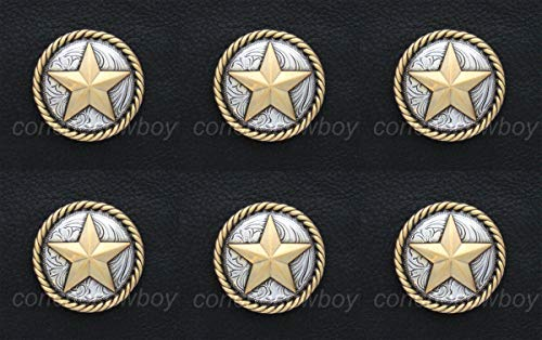 JumpingLight Set of 6 Western Horse TACK Antique Gold Round Rope Edge Star Conchos 1-1/2'' Perfect for Crafts, Scrap-Booking, Jewelry, Projects, Quilts