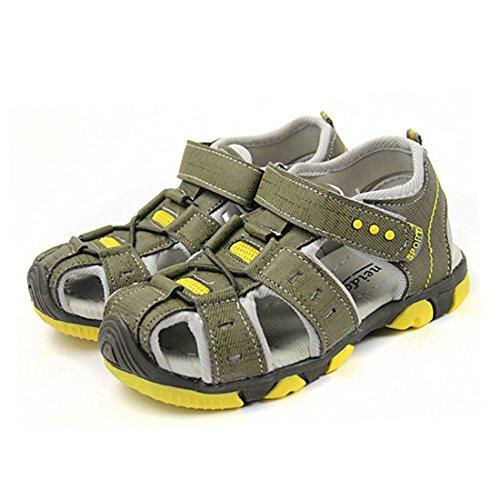 Vertvie Baby Jungen Kinder Boy Sommer Sport Sandale Schuhe Rutschfest Wildledersohle Lauflernschuhe mit Klettverschluss Armygruen+Gelb