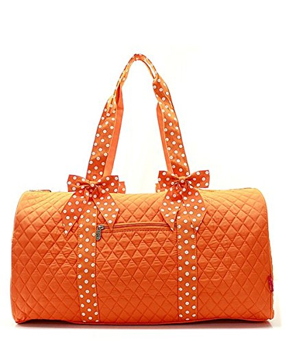 Handbag Inc Quilted Solid Color with Polka Dot Trim Large 20