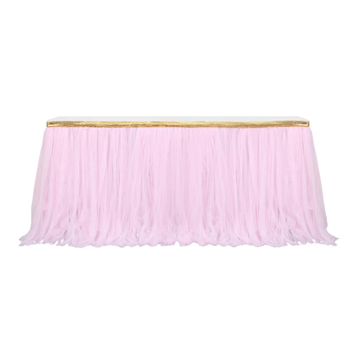 9ft Gold/Pink Tulle Table Skirt Tutu Table Skirts Wedding Birthday Baby Shower Party Table Skirting by HB HBB MAGIC (Image #1)