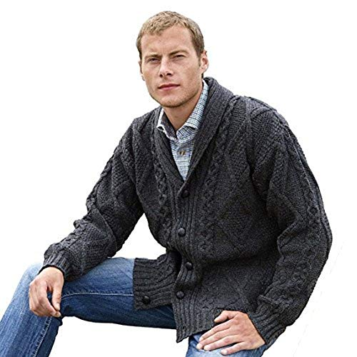 Wool Cable Sweater - Irish Aran Knitwear 100% Irish Merino Wool Men's Shawl Neck Cardigan Sweater with Pockets (Charcoal, Large)