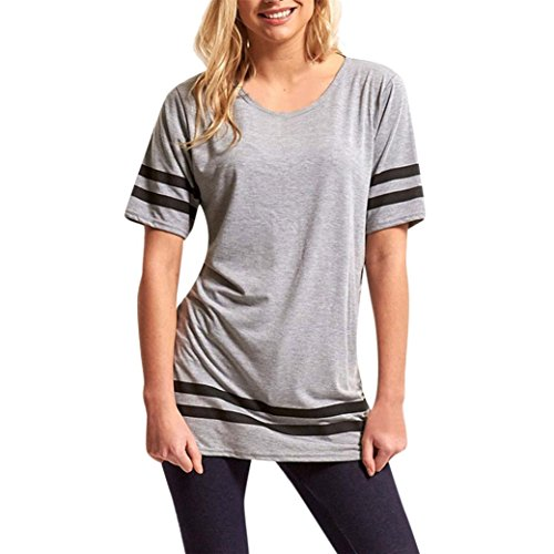 iTLOTL Womens Ladies Stripe Baggy Top Short Sleeve Sport Pullover T Shirts Blouse(US:12/CN:XL, Gray)