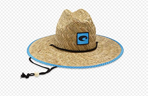 - Costa Del Mar Logo Straw Hat With Costa Blue Trim and Drawstring, Natural