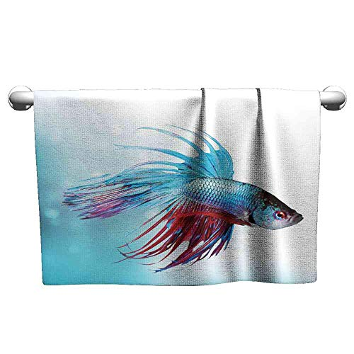 Jiahong Pan Towel Aquarium,Siamese Fighting Betta Fish Swimming in Aquarium Aggressive Sea Animal,Sky Blue Dark Coral Absorbent Towel Size:W27.5 xL14