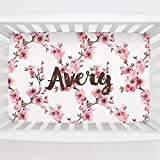 Carousel Designs Personalized Custom Pink Cherry Blossom Mini Crib Sheet Avery Idea - Organic 100% Cotton - Made in The USA