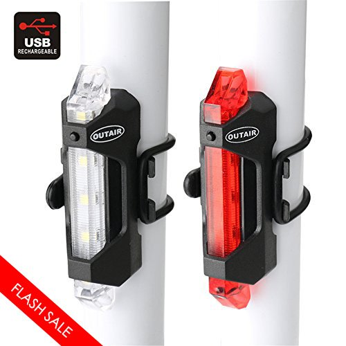 Outair USB Rechargeable Bicycle Light Front And Tail Set 5 LEDs 4 Modes Head Back Bike Flashing Safety Warning Lamp Fit For All Cycling Pack Of 2 (White/Red)