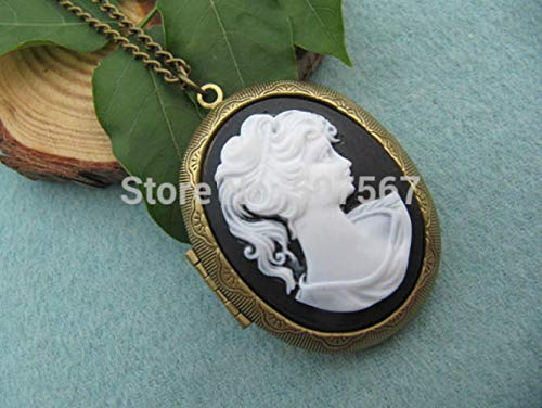 Elegant Lady Cameo Locket Necklace Goddess Jewelry Bestfriend gfit Vintage Style gifl Woman Daughter Gift idea