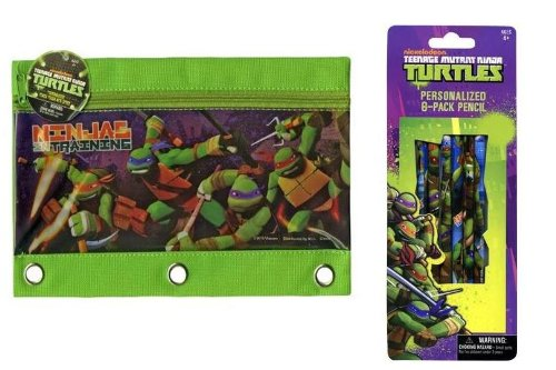 - TMNT 3 Ring Pencil Pouch with zipper and 6pk Wood pencil set