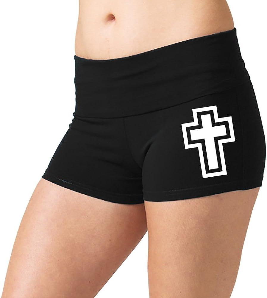 Womens Double Cross Outline V292 Black Yoga Workout Booty Shorts Black