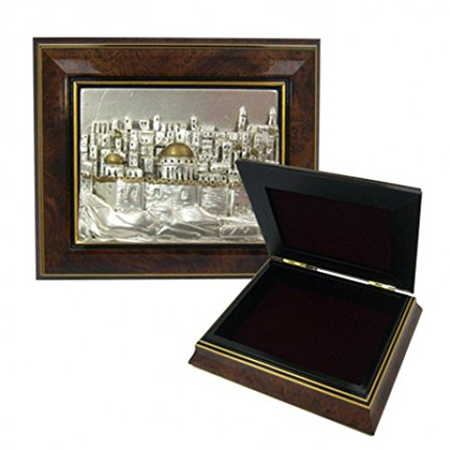 Wood And Sterling Silver Jewelry Box (Hand Crafted Wood and Sterling Silver Jewelry Box with Jerusalem Skyline Design)