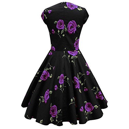 BOMOVO Damen Audrey Hepburn 50s Retro Vintage Bubble Skirt Rockabilly Swing Evening Kleider XS-7XL