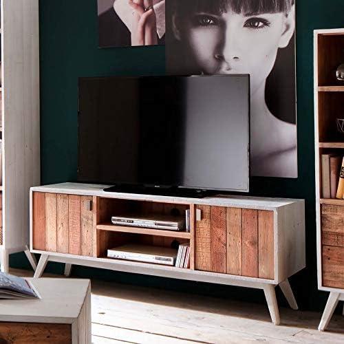 MÖBEL IDEAL - Mueble bajo para televisor (Madera Maciza reciclada, 160 x 40 x 60 cm), diseño Vintage, Color Blanco y marrón: Amazon.es: Juguetes y juegos